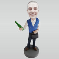 Custom man hold beer bobble heads