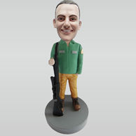 Personalized custom man and big gun bobble heads
