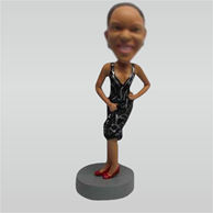 Custom black dress bobbleheads doll