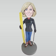 Personalized custom Skiing Women bobbleheads