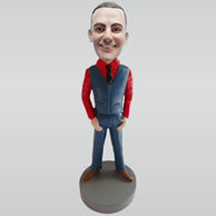 Personalized custom red shirt bobbleheads