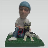 Custom man with his dog bobble heads