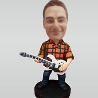 Custom man with guitar bobblehead doll