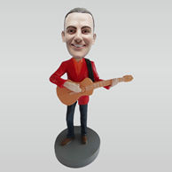 Custom man with guitar bobblehead dolls