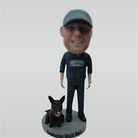Custom man with his dog bobbleheads