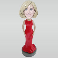 Custom red skirt bobbleheads