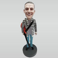 Personalized custom man and guitar bobbleheads