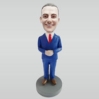 Personalized custom blue suit man bobblehead