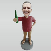 Custom man hold beer bobblehead