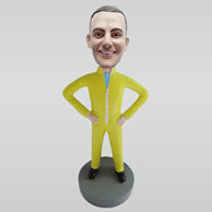 Custom yellow coat bobbleheads