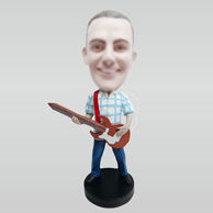 Personalized custom man and guitar bobble head