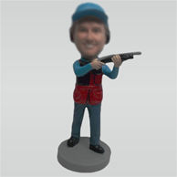 Custom man and gun bobble head