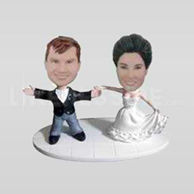 Personalized wedding bobblehead cake topper-10688