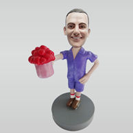 Custom man and flowers bobbleheads