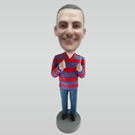 Personalized custom casual man bobblehead dolls