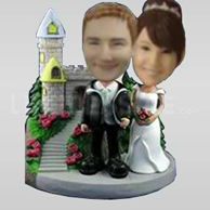 Classic Castle Theme Newlywed Couple Bobbleheads-10726
