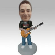 Personalized custom man and guitar bobblehead doll
