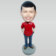 Personalized custom casual boy bobbleheads
