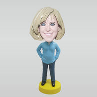 Personalized custom blue shirt female bobbleheads