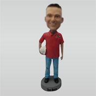Custom red tshirt bobble heads
