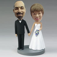 Personalized custom wedding cake bobble heads