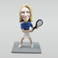 Personalized custom female Tennis bobbleheads