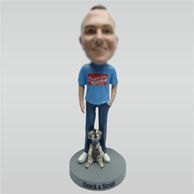 Custom man and dog bobble heads