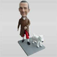 Custom man and dog bobbleheads
