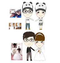 Custom couple cartoon bobbleheads for wedding cake toppers