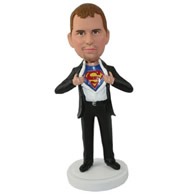 Custom special man in black suit underneath supermen shirt holding the superman logo out bobble heads