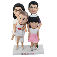 Custom happy family with four members in bobble heads