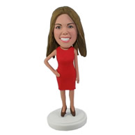 Custom sexy female in red dress hand in waist beauty bobble heads