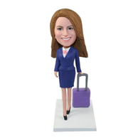 Custom outstanding airline stewardess in blue dress suit dragging suitcase bobble heads