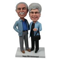 Custom old couple both wearing light blue jacket bobble heads