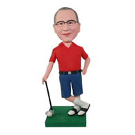 Custom special golfer wearing slippers bobble heads