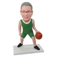 Custom backetball player in green sports clothing bobble heads