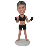 Custom female coach of boxing in black clothes sexy bobble heads