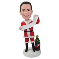 Custom youny men weaing santa's clothing with a Christmas tree aside the body bobble heads