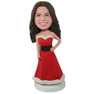 Custom young women wearing Christmas res dress bobble heads