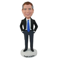 Custom in black dress suit politcian bobble heads