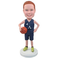 Custom red hair girl in sports suit holding basketball in arms bobble heads
