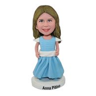Custom cute short little girl in light blue dress bobble heads