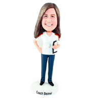 Custom middle age female coach bobble heads