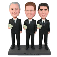 The three people playing poker custom bobbleheads
