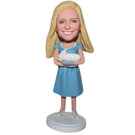 Custom the woman holding the rabbit  bobbleheads