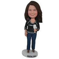 Custom the woman holding a glass  bobble heads