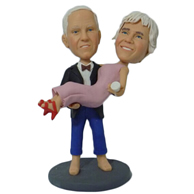 Custo the pair of husband and wifem bobble heads