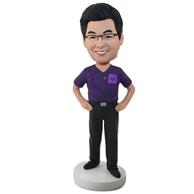 Custom purple man bobbleheads doll