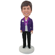 Custombrown clothes woman bobble heads