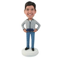 Custom man rested on his hip bobbleheads